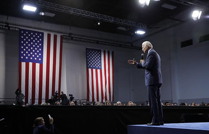 Former Vice President and Democratic presidential candidate Joe Biden speaks during a gun safety forum Wednesday, Oct. 2, 2019, in Las Vegas. File Photo: AP