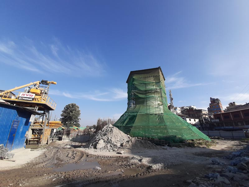 A view of the Dharahara reconstruction site, in Kathmandu, as seen on Tuesday, October 22, 2019. Photo: Nishant Pokhrel/THT Online