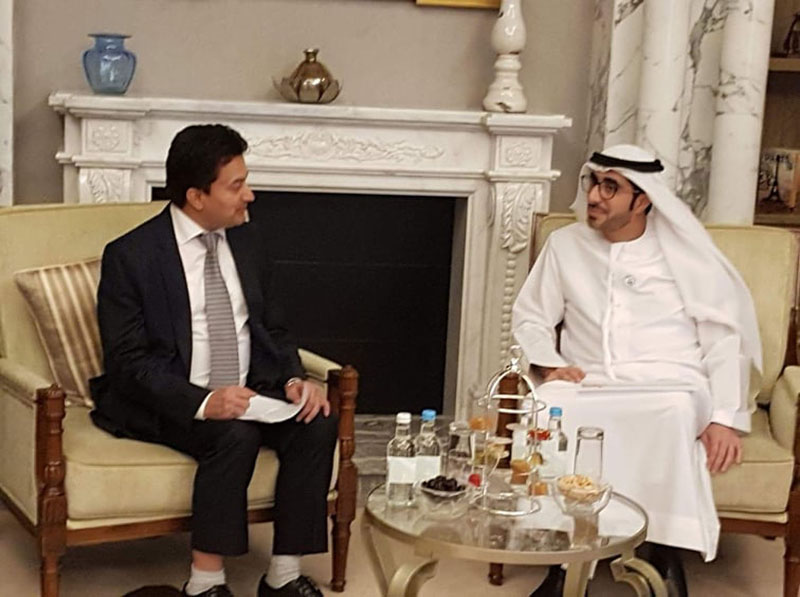 Nepal's Minister for Labour, Employment and Social Security, Gokarna Bista attending a meeting with Minister of Human Resources and Emiratisation of UAE, Nasser Bin Thani Al Hamali in the fifth ministerial-level Abu Dhabi Dialogue on October 16, 2019. Photo: RSS