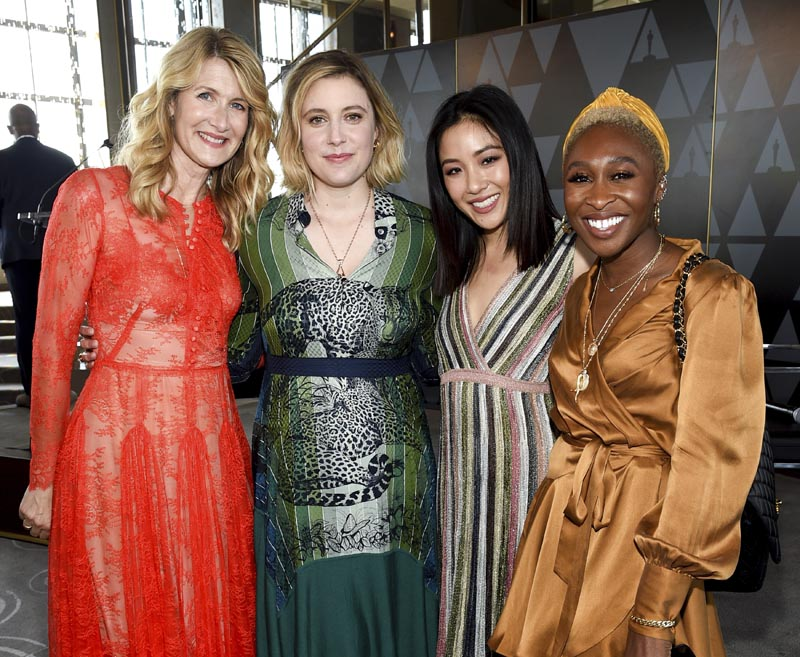 Actors Laura Dern, left, Greta Gerwig, Constance Wu and Cynthia Erivo pose together at the Academy of Motion Picture Arts and Sciences Women's Initiative New York luncheon at the Rainbow Room on Wednesday, Oct 2, 2019, in New York. Photo: AP
