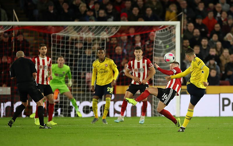 Arsenal's Granit Xhaka shoots at goal during the Premier League match between Sheffield United and Arsenal, at Bramall Lane, in Sheffield, Britain, at October 21, 2019. Photo: Action Images via Reuters