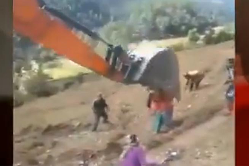 This footage shows an excavator bucket smashing protesters in Dashrathchand Municipality, Baitdi district, on Monday, October 21, 2019. Courtesy: Avenues Television broadcast via Bhuwan Thapa/Twitter