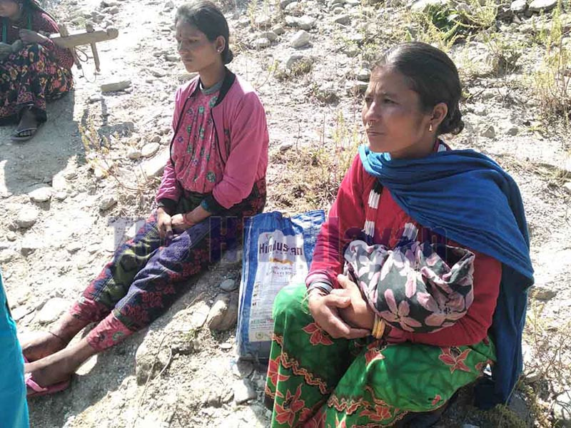 Phul Maya Sunar (left) resting after delivery, in Bajura, on Saturday. Photo: THT