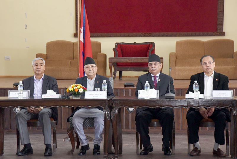 Prime Minister KP Sharma Oli (second from left)  holding discussions with the former prime ministers, former ministers for foreign affairs and foreign affairs experts in connection with the Chinese President Xi Jinping's imminent state visit to Nepal, at Prime Minister's official redidence in Baluwatar, Kathmandu, on October 10, 2019. Photo: RSS