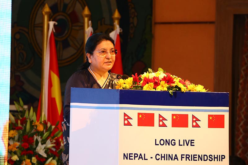 President Bidya Devi Bhandari delivers a statement in a state banquet organised this evening in honour of visiting Chinese President Xi Jinping,at Hotal Soaltee Crowne Plaza in Kathmandu, on Saturday, October 12, 2019. Photo: RSS