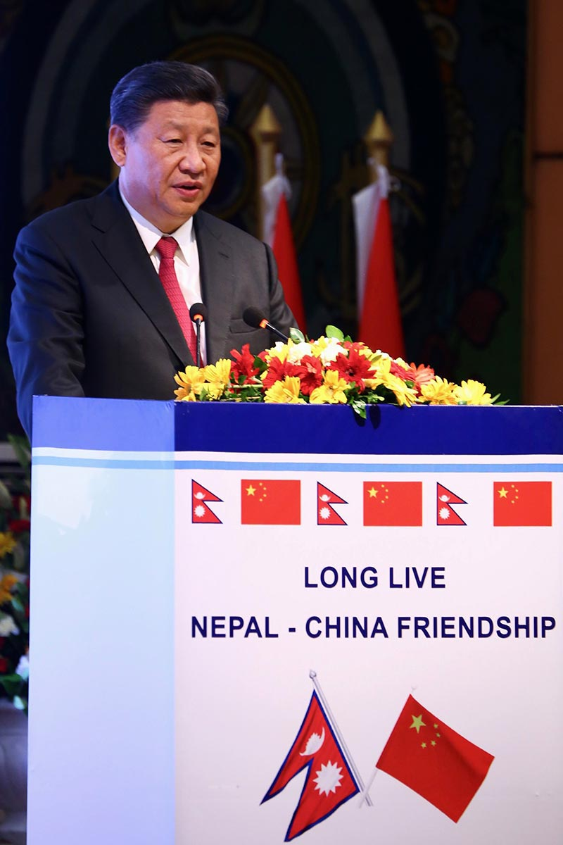 President of the People's Republic of China delivers a statement in a state banquet organised this evening in his honour, at Hotal Soaltee Crowne Plaza in Kathmandu, on Saturday, October 12, 2019. Photo: RSS