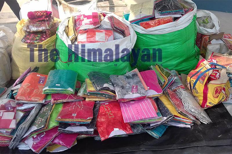 Police displaying seized smuggled goods at District Police Office, Bara, on Sunday, October 13, 2019. Photo: Puspa Raj Khatiwada/THT