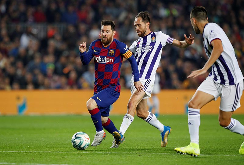 Barcelona's Lionel Messi in action during the La Liga Santander match between FC Barcelona and Real Valladolid, at Camp Nou, in Barcelona, Spain, on October 29, 2019. Photo: Reuters