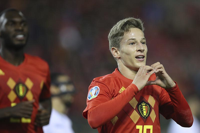 Belgium's Yari Verschaeren jubilates after scoring his sides eighth goal on a penalty during the Euro 2020 group I qualifying soccer match between Belgium and San Marino at the King Baudouin Stadium in Brussels, on Thursday, October 10, 2019. Photo: AP