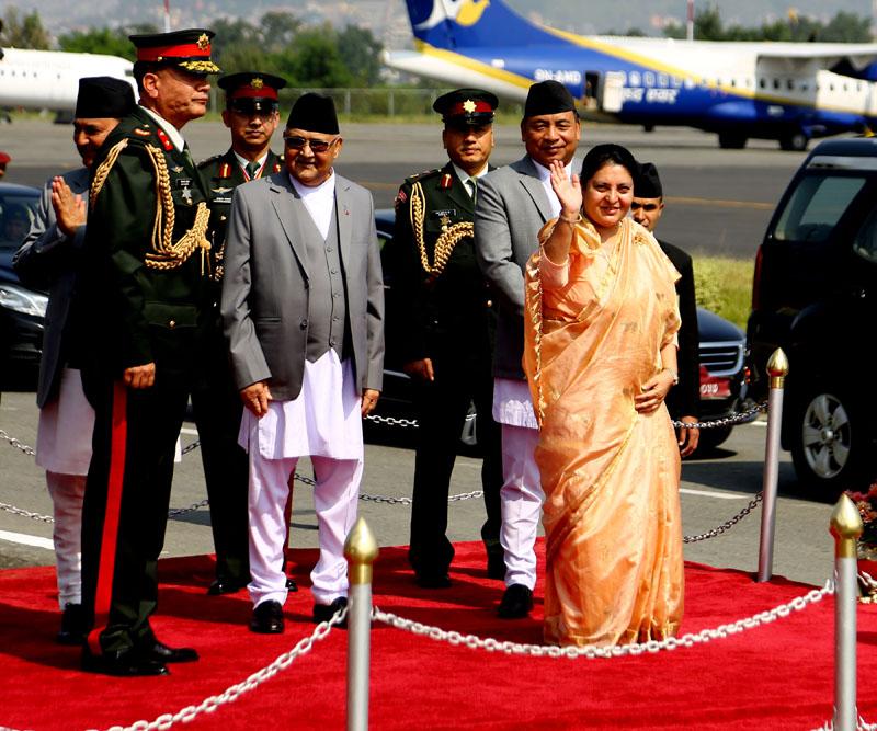 President Bidhya Devi Bhandari at the VVIP lounge of Tribhuwan International Airport before she leaves for Myanmar, on Wednesday, October 16, 2019. Photo: RSS