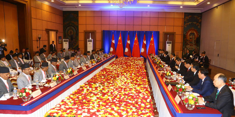 High-level official delegation talks being held between Nepal and China at Solatee Crowne Plaza on Sunday, October 13, 2019 . Photo: RSS