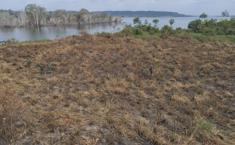 Soldiers patrol through a field that was burned as they search for illegal miners and loggers near Altamira, Para state, Brazil, Sept 5, 2019. Photo: AP/File