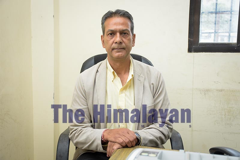 Interview with Secretary of Cricket Association of Nepal, Ashok Nath Pyakurel. Photo: Naresh Krishna Shrestha/THT