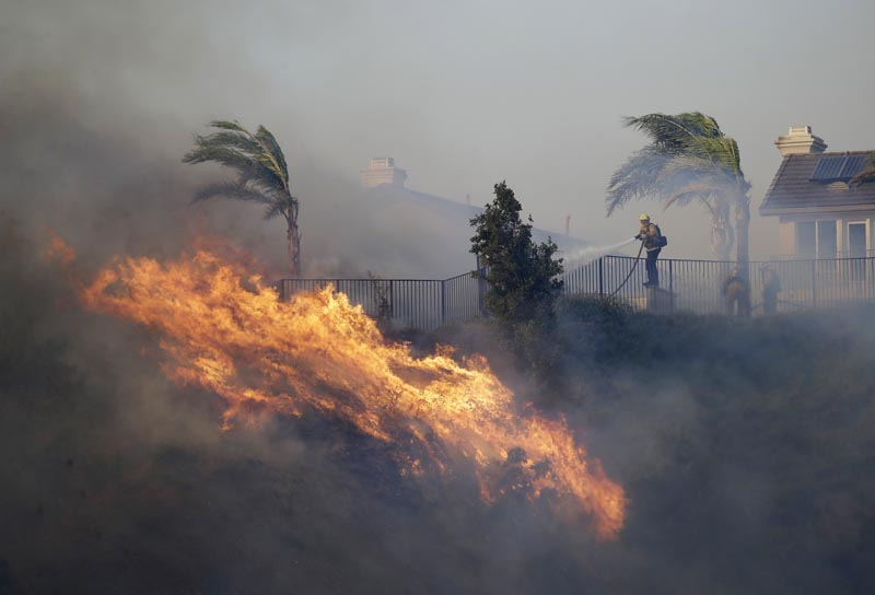 A firefighter sprays water in front of an advancing wildfire Friday, Oct 11, 2019, in Porter Ranch, California. Photo: AP