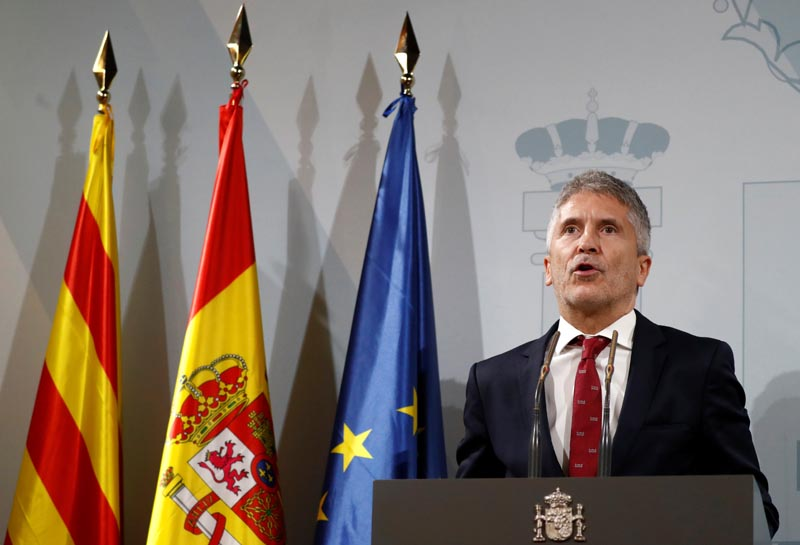 Spain's acting Interior Minister Fernando Grande-Marlaska speaks at a news conference after holding meeting with police commanders in charge of the police operation in Catalonia, in Barcelona, Spain, October 19, 2019. Photo: Reuters