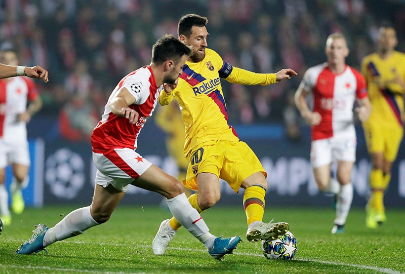 Barcelona's Lionel Messi in action during the Champions League Group F match between SK Slavia Prague and FC Barcelona, at Eden Arena, in Prague, Czech Republic, on October 23, 2019. Photo: Reuters