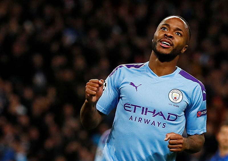 Manchester City's Raheem Sterling celebrates scoring their third goal during the Champions League Group C match between Manchester City and Atalanta, at  Etihad Stadium, in Manchester, Britain, on October 22, 2019. Photo: Action Images via Reuters