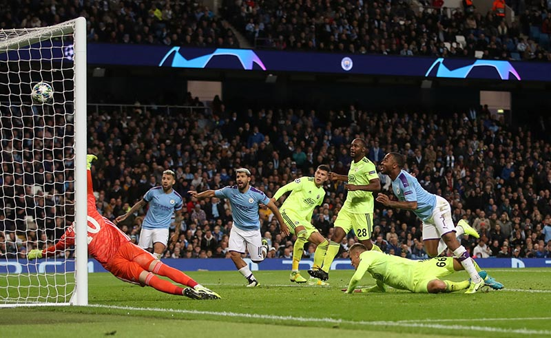 Manchester City's Raheem Sterling scores their first goal during the Champions League, at Group C match between Manchester City and GNK Dinamo Zagreb, at Etihad Stadium, in Manchester, Britain, on October 1, 2019. Photo: Action Images via Reuters