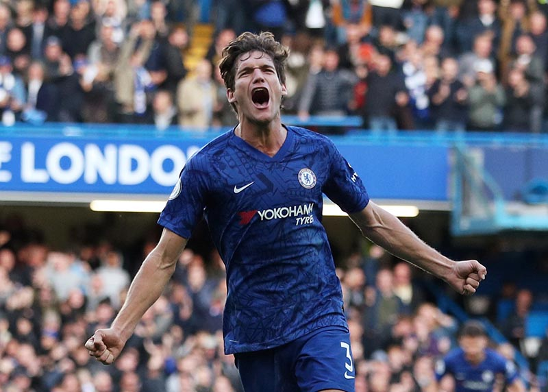 Chelsea's Marcos Alonso celebrates scoring their first goal during the Premier League match between Chelsea and Newcastle United, at Stamford Bridge, in London, Britain, at  October 19, 2019. Photo: Reuters
