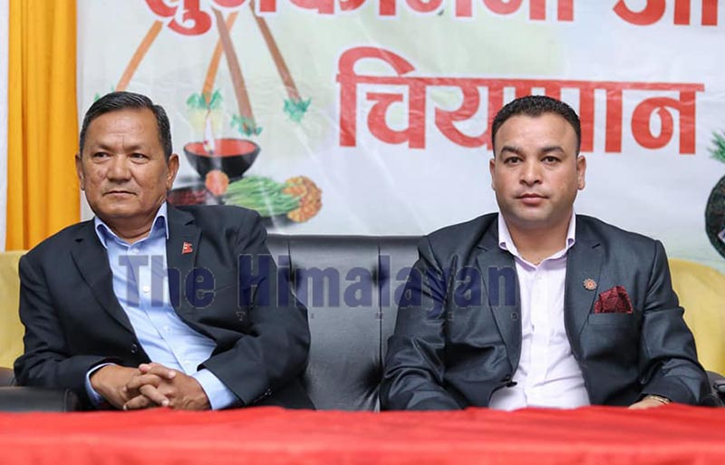 Chief Minister of Gandaki Province Prithvi Subba Gurung attending a programme organised to exchange festival greetings, in Pokara, on Tuesday. Photo: THT