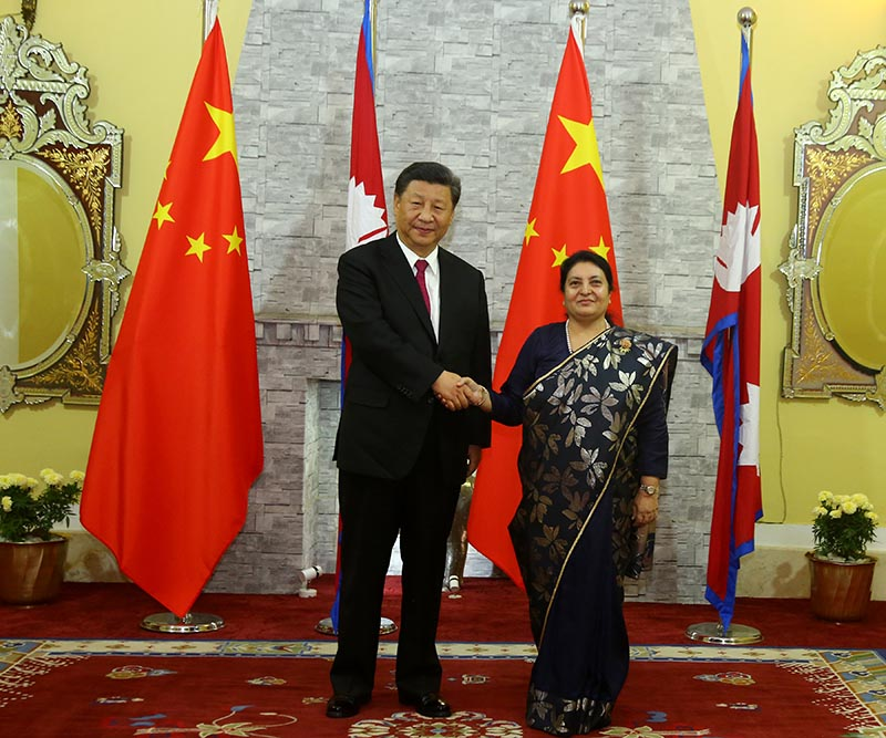 President Bidya Devi Bhandari welcomes and shakes hands with President of the People's Republic of China, Xi Jinping, at former's official residence at Shital Niwas in Kathmandu, on Saturday, October 12, 2019. Photo: RSS