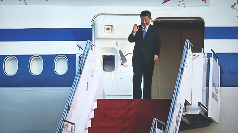 President of the People's Republic of China, Xi Jinping waves upon arrival at Tribhuvan International airport in Kathmandu, on Saturday, October 12, 2019. Photo: Ram Sarraf/screenshot of NTV