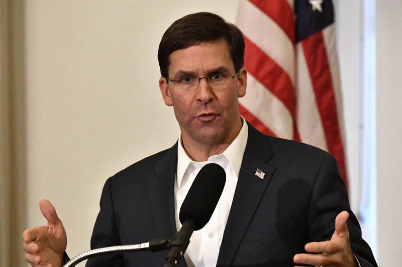 Defense Secretary Mark Esper speaks to a gathering of soldiers at the University Club at the University of Louisville in Louisville, Ky, Friday, Oct 4, 2019. Photo: AP/File