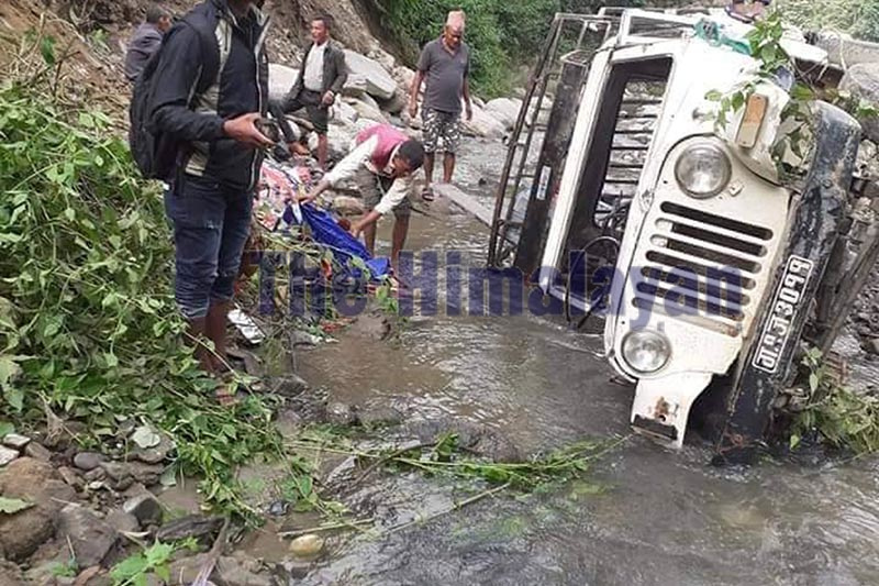 A view of the jeep that skidded off the road and plunged into Tuni Khola in Gajuri Rural Municipality-2 of Dhading, on Thursday, October 31, 2019. Photo: Keshav Adikari/ THT
