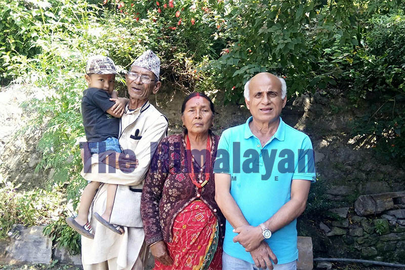 Dr Govinda KC (right) poses for a portrait with his relatives in Dolakha, on Wednesday, October 16, 2019. Photo: Gokarna Bhandari/THT