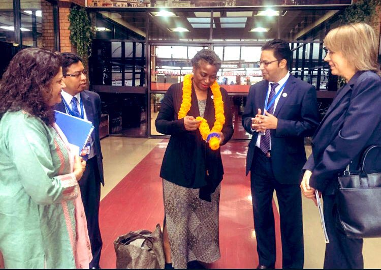 UN officials welcoming Dr Natalia Kanem, Executive Director of United Nations Population Fund (UNFPA), at Tribhuvan Intenational Airport, Kathmandu, on Sunday, October 20, 2019. Photo Courtesy: United Nations Resident Coordinator/Twitter