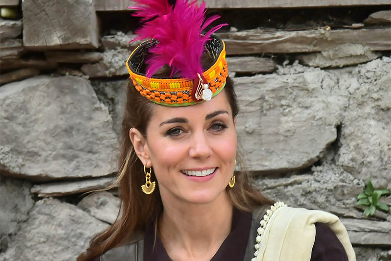 Britain's Catherine, Duchess of Cambridge smiles during a visit at a settlement of the Kalash people in Chitral, Pakistan, on Wednesday, October 16, 2019. Photo: Reuters