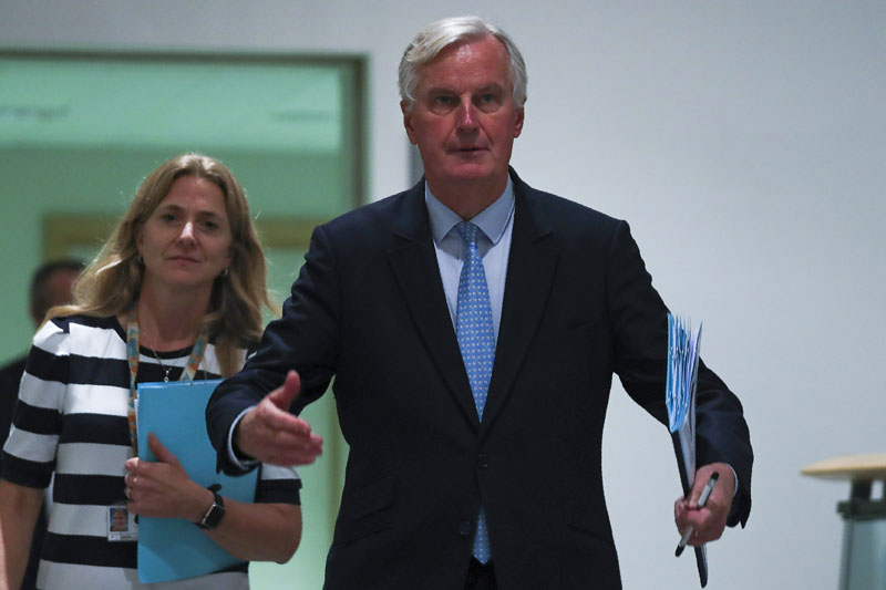 European Union chief Brexit negotiator Michel Barnier arrives to a Brexit Steering Group meeting at the European Parliament in Brussels, Wednesday, October 16, 2019. Photo: AP