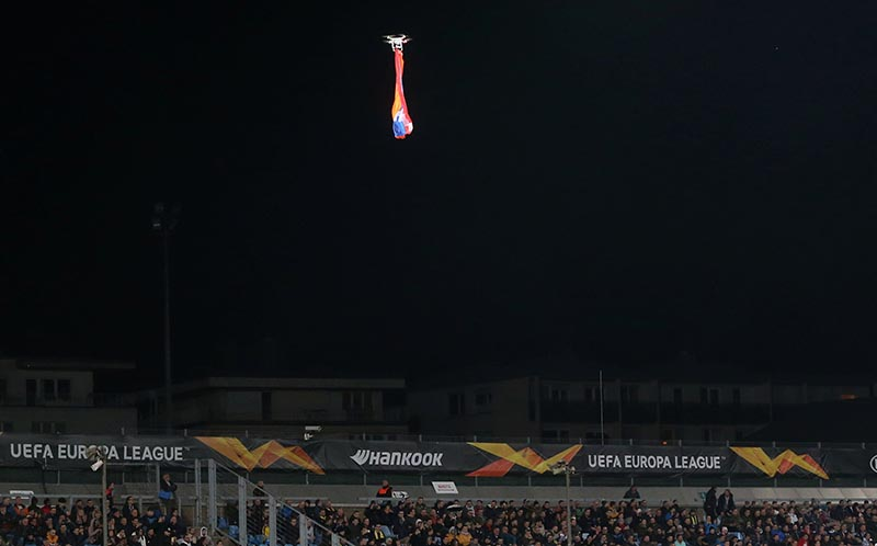 General view as a drone flies over the pitch interrupting the football match between F91 Dudelange and Qarabag, in Europa League Group A, at Stade Josy Barthel, Luxembourg City, Luxembourg, on October 3, 2019. Photo: Reuters