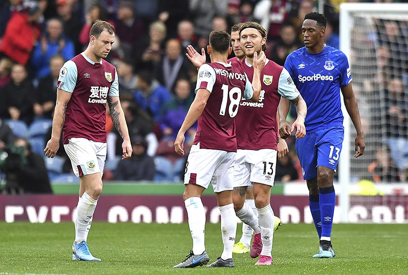 Burnley's Jeff Hendrick, centre right, celebrates scoring against Everton during the English Premier League soccer match at Turf Moor, Burnley, England, on Saturday, October 5, 2019. Photo: Anthony Devlin/PA via AP