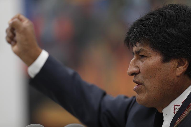 Bolivia's President Evo Morales speaks during a press conference in La Paz, Bolivia, Thursday, October 24, 2019. Photo: AP