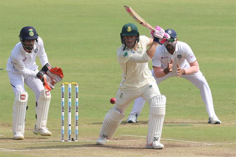 South Africa skipper Faf du Plesis bats against India during the second test match at Pune in India, on Sunday, October 13, 2019. Photo: ICC/Twitter