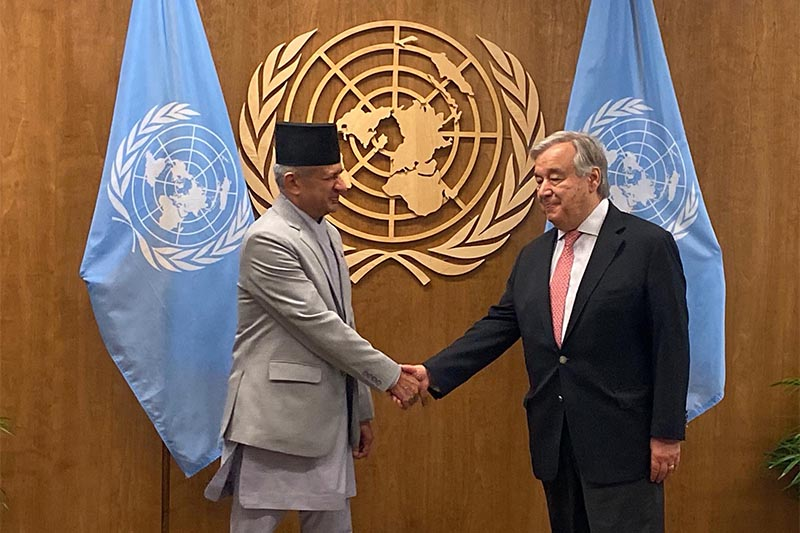 Minister of Foreign Affairs Pradeep Kumar Gyawali met with Secretary-General of the United Nations Antonio Guterres at the latteru2019s office in New York, USA, on Monday, September 30, 2019. Photo courtesy: MoFA Nepal/Twitter