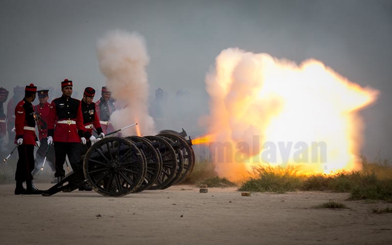 Nepali Army soldiers firing cannons during the grand rehearsal of Fulpati festival at the Army Pavilion in Kathmandu, Nepal on Wednesday, October 02, 2019. Photo: Skanda Gautam/ THT