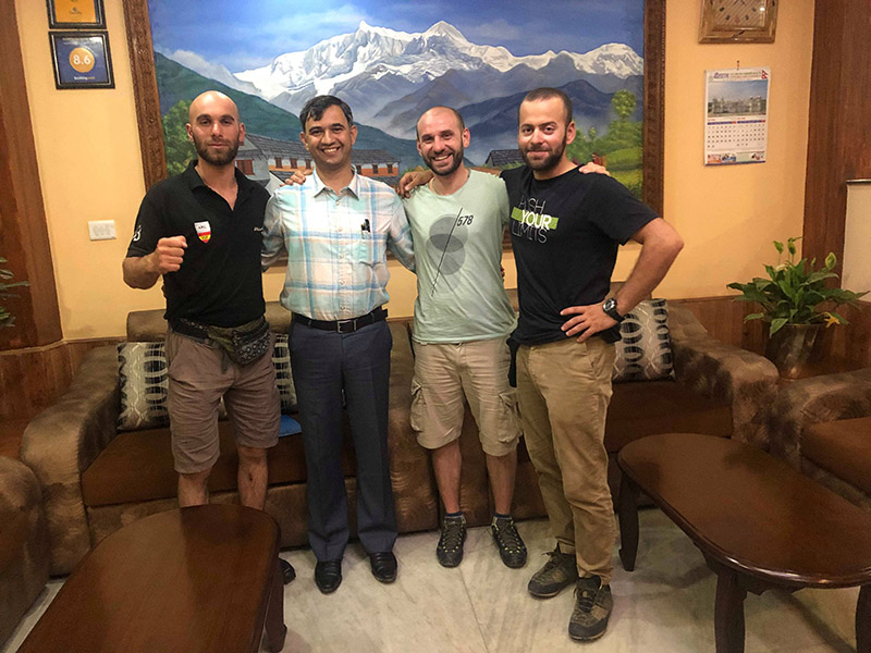 Georgian climbers with expedition operator Rishi Bhandari.