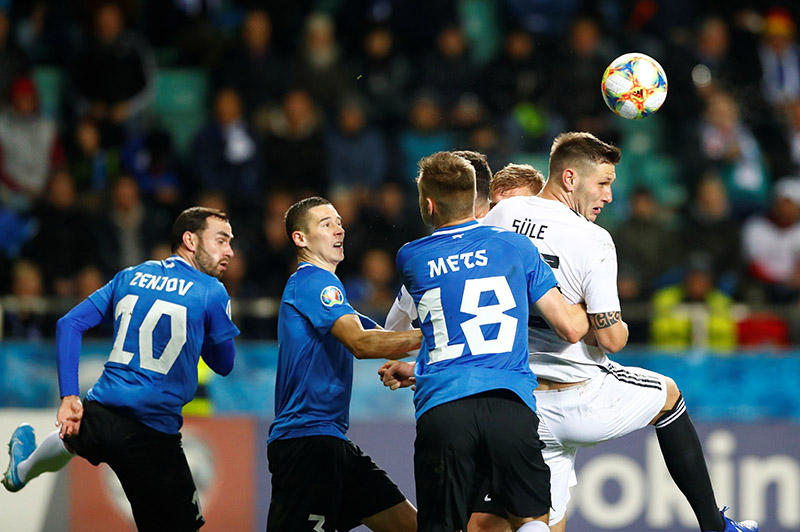 Germany's Matthias Ginter in action with Estonia's Karol Mets during the  Euro 2020 Qualifier Group C match between Estonia and Germany, at A. Le Coq Arena, in Tallinn, Estonia, on October 13, 2019. Photo: Reuters