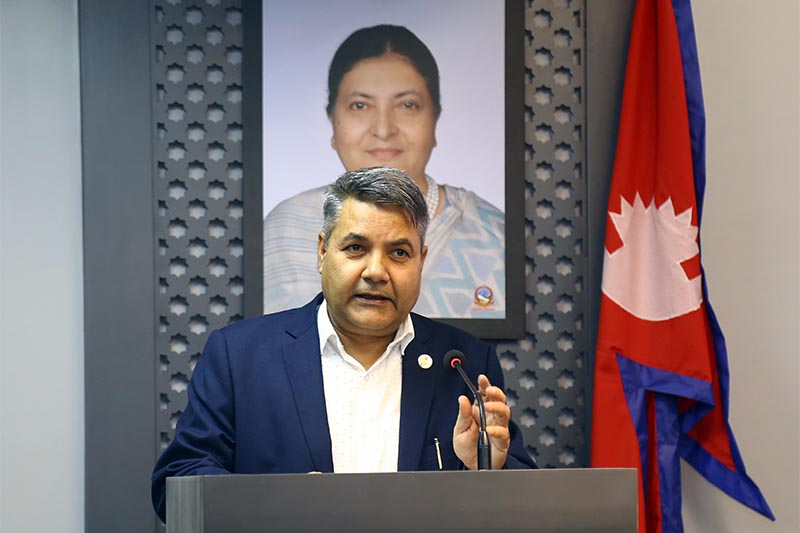 Minister of Communications and Information Technology Gokul Prasad Baskota discloses the cabinet decisions at a press conference organised in Singha Durbar, Kathmandu, on Thursday, October 17, 2019. Photo: RSS