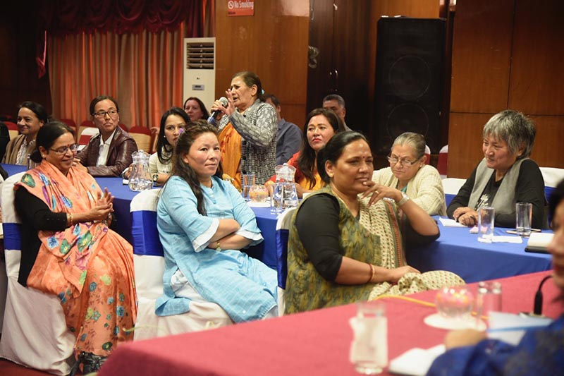 Panel of female Nepali leaders interact with women journalists during an event at ALFA house, Kathmandu. Photo Courtesy: Sancharika Samuha