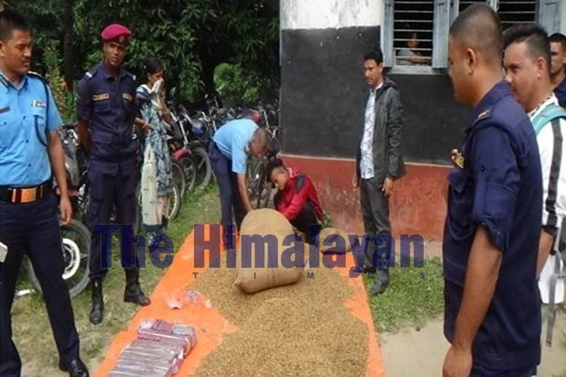 Police display seized illegal chewing tobacco, firecrackers at the DPO, Udayapur, in Gaighat, on Wednesday, October 23, 2019. Photo: Shyam Rai/THT