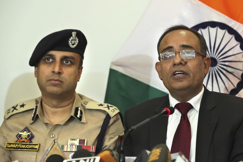 Government spokesperson Rohit Kansal, right, speaks as Swayam Prakash Pani, left, Inspector General of Police of Kashmir Range during a press conference, sits beside him in Srinagar, Indian controlled Kashmir, Saturday, Oct 12 2019. Photo: AP