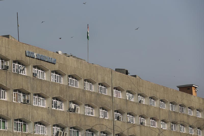Indian National flag is hoisted on the government civil secretariat building in Srinagar, Indian controlled Kashmir, Thursday, October 31, 2019. Photo: AP