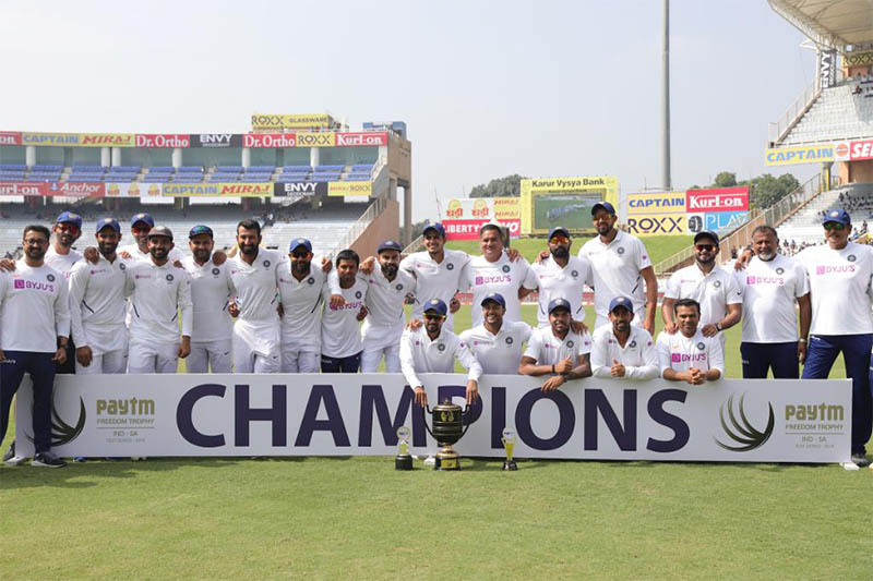 India players and officials celebrate after winning the series against South Africa, in Ranchi, India, on Tuesday, October 22, 2019. Courtesy: ICC/Twitter