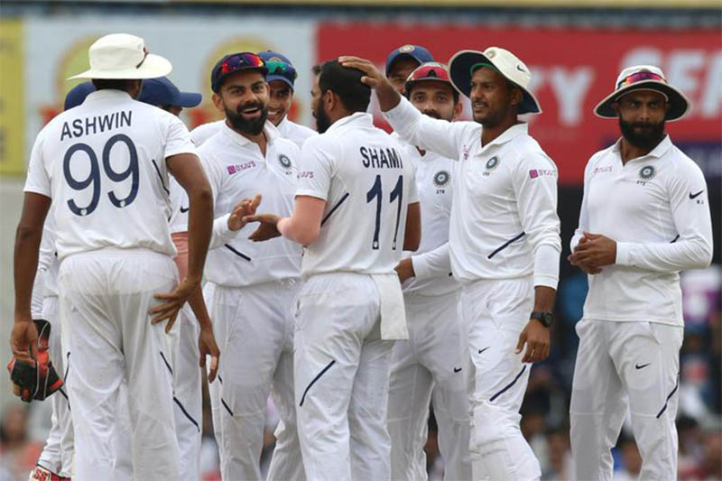 India players celebrate after taking a wicket against South Africa during third test match at Ranchi, on Monday, October 21, 2019. Courtesy: ICC/Twitter