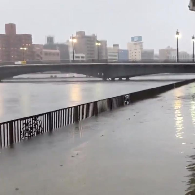 A general view of an overflowing Sumida River as Typhoon Hagibis approaches in Tokyo, Japan October 12, 2019. Photo: Reuters