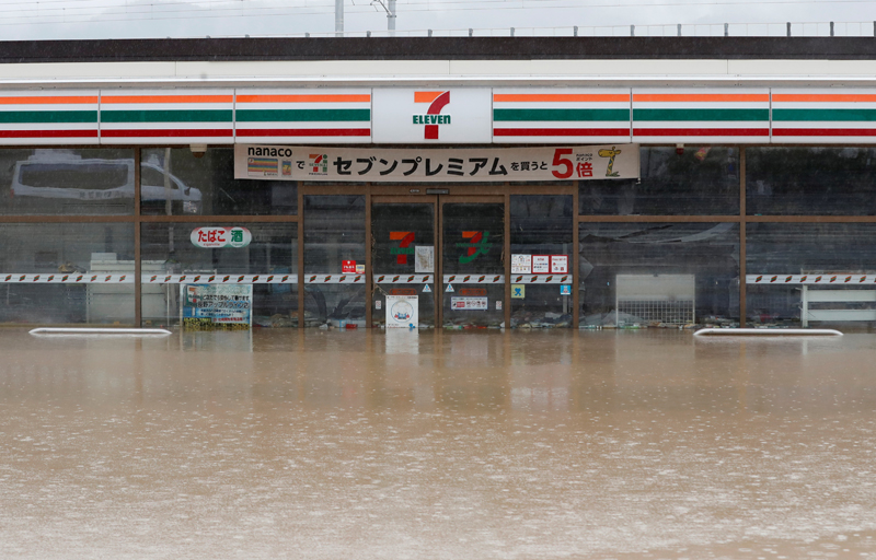 A flooded shop is seen in the aftermath of Typhoon Hagibis, which caused severe floods, near the Chikuma River in Nagano Prefecture, Japan, October 14, 2019. Photo: Reuters