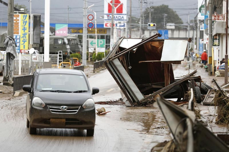 Debris caused by Typhoon Hagibis are left on a street in Motomiya, Fukushima prefecture, Japan Monday, October 14, 2019. Photo: Kyodo News via AP